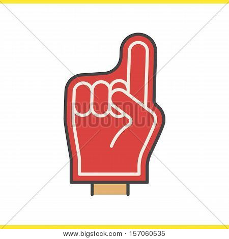 Foam finger color icon. American football fans red foam hand. Isolated vector illustration