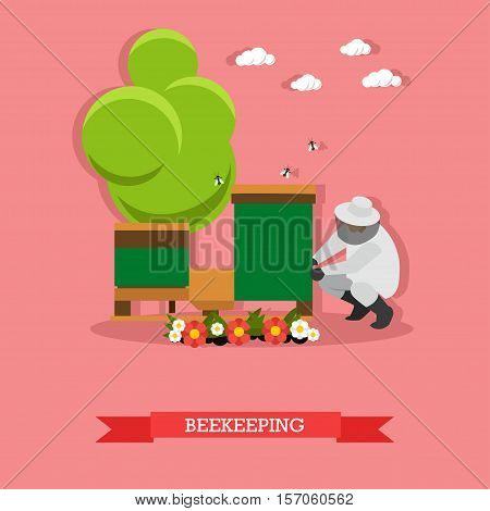 Beekeeper man in uniform sitting near beehive working on apiary. Apiculture concept vector illustration in flat style.