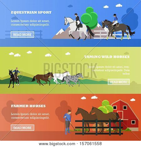 Vector set of equestrian sport, taming wild horses, farming concept banners. Women riding horses, cowboy throwing lasso, working farmer near stable and horses, place for text. Flat style.