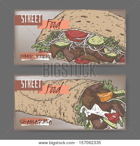 Ste of two color landscape banners with doner kebab and shawarma. Turkish and Arabic cuisine. Street food series. Great for market, restaurant, cafe, food label design.
