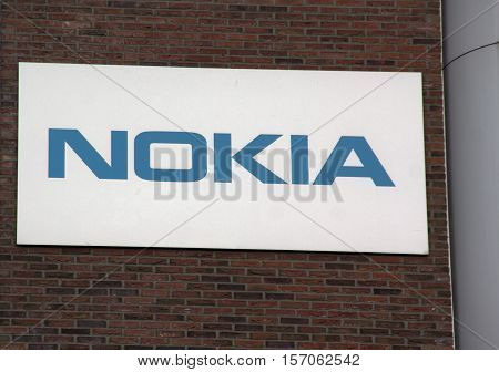 Letters Nokia On A Wall In Amsterdam