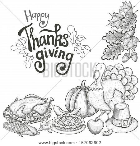 Corner frame with Thanksgiving icons. Sketch style Thanksgiving day greeting card. Vintage Thanksgiving food leaves and turkey. Thanksgiving Day drawing background for decoration. Vector.