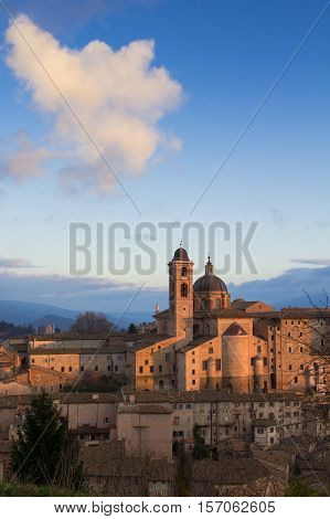 Historic Urbino city at the sunset, Italy