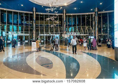 ABU DHABI - NOVEMBER 4 2016: Entrance inside a large shopping center Marina mall in Abu Dhabi UAE. Marina Mall is Abu Dhabi's premium shopping mall and entertainment landmark.