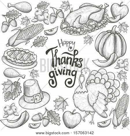 Round frame with Thanksgiving icons. Sketch style Thanksgiving day greeting card. Vintage Thanksgiving food leaves and turkey. Thanksgiving Day drawing background for decoration. Vector.