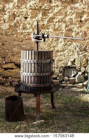 SETTIMO SAN PIETRO, ITALY - October 22, 2016: Festival of Malvasia - Sardinia - equipment to crush the grapes after the harvest