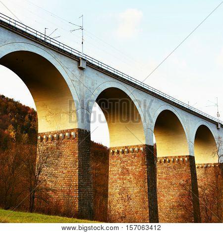 Railway bridge. Beautiful old building of the bridge in the Czech Republic.