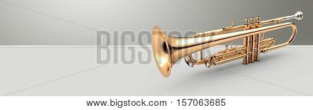 Trumpet - Golden trumpet classical instrument banner 3D illustration