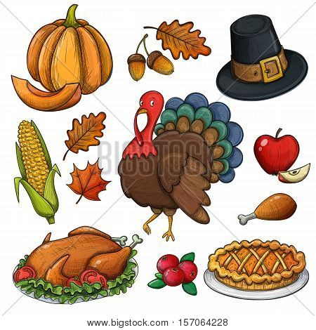 Set of colorful Thanksgiving icons. Thanksgiving day greeting card. Vintage Thanksgiving food leaves and turkey. Thanksgiving Day background for decoration. Vector.