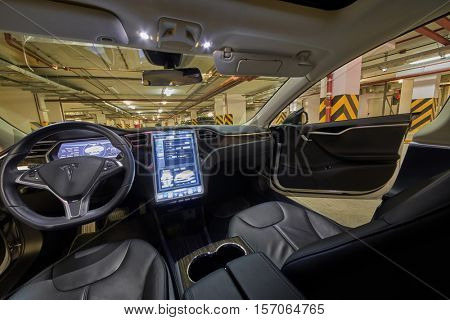 MOSCOW, RUSSIA - NOV 11, 2015: Interior of cabin of the Tesla Model S car. The Tesla Model S produced by Tesla Motors, and introduced in June 2012.
