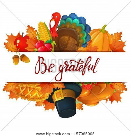 Template with Thanksgiving icons. Colorful illustration of Thanksgiving day greeting card. Traditional Thanksgiving food leaves and turkey. Thanksgiving Day background for decoration. Vector.