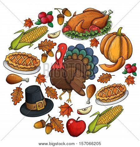 Round template with colorful Thanksgiving icons. Thanksgiving day greeting card. Vintage Thanksgiving food leaves and turkey. Thanksgiving Day background for decoration. Vector.