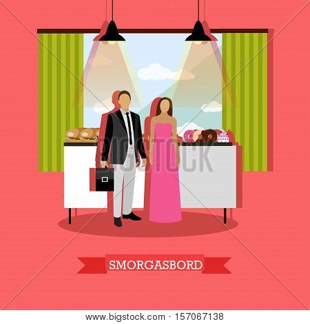 Smorgasbord concept vector illustration in flat style. Visitors man and woman standing near table with burgers, bakery and desserts. Restaurant interior. poster