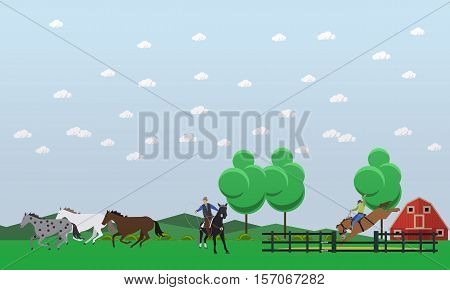 Cowboy riding horse and throwing lasso. Men taming wild horses near farm. Wild West characters. Vector illustration in flat style.