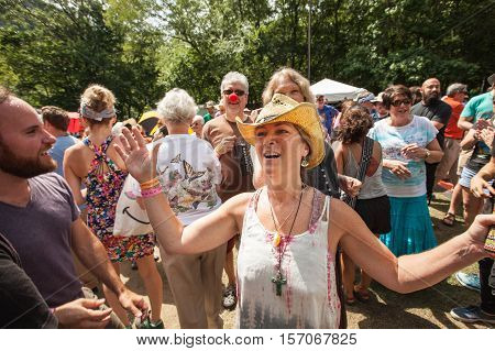 Enthusiastic Christian Woman At The Wild Goose Festival