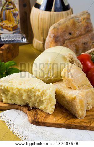 Best Italian food - fresh caciocavallo pecorino pamesan cheese and tomatoes