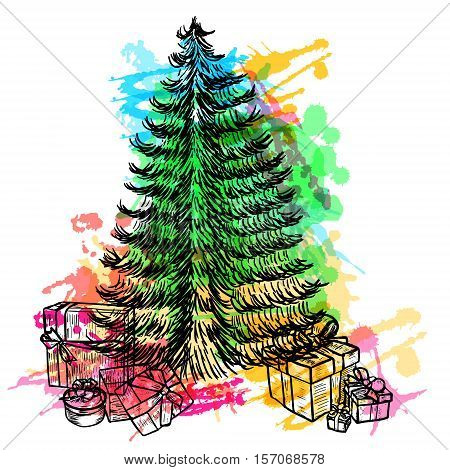Hand drawn sketch Christmas tree with colorful watercolor blots and gifts