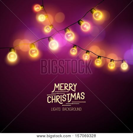 Christmas Fairy Lights - Seasonal decorations with colourful lights. Vector illustration.