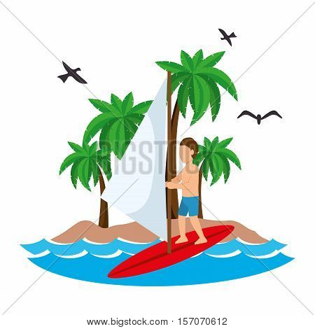 surfing man waves beach tropical vector illustration eps 10