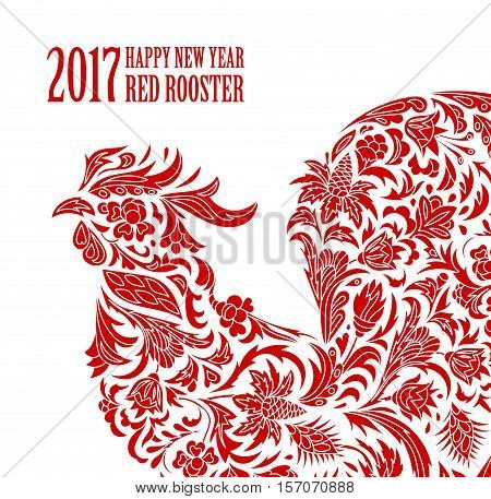 Vector illustration of rooster, symbol of 2017 on the Chinese calendar. Silhouette of red cock, decorated with floral patterns. Vector element for New Year's design. One color print
