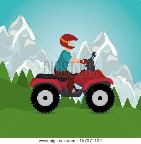 man riding atv sport landscape background vector illustration eps 10