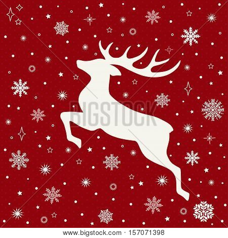 Christmas greeting card with deer in vector