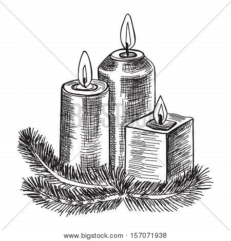 Hand drawn sketch Burning candle in christmas candlestick of fir branches. Vector illustration.