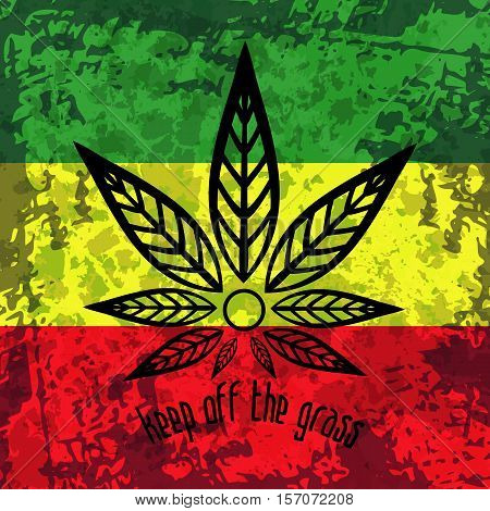 Green, yellow, red rasta flag. Rastafarianism grunge background with stylized cannabis. Colorful backdrop for decoration work in reggae, rastaman festivals, posters, promotional items.