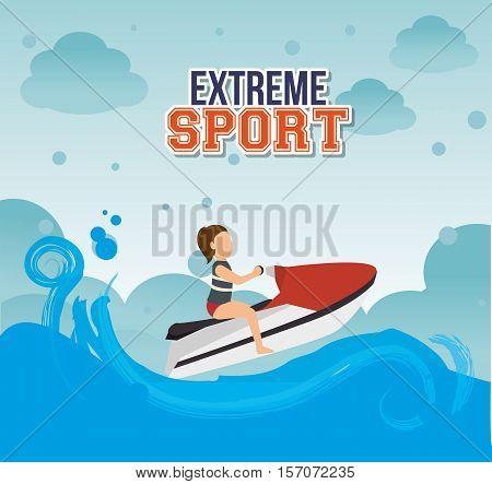 girl jet ski waves sea emblem vector illustration eps 10