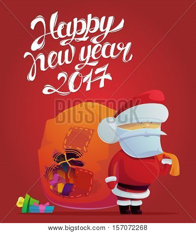 Santa claus with holes in bag for 2017 new year poster. Holiday festive or celebration placard with santa claus bringing gifts and presents. May be used for winter greeting card banner, santa claus logo