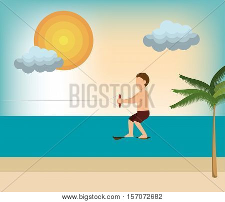 wakeboarding man extreme sport beach vector illustration eps 10