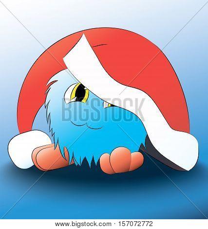 monster Cute cartoon blue christmas hat on his head