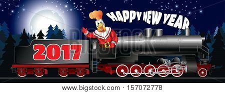 greeting card of a illustration of rooster in clothing Santa Claus on a steam locomotive with congratulation Happy New Year