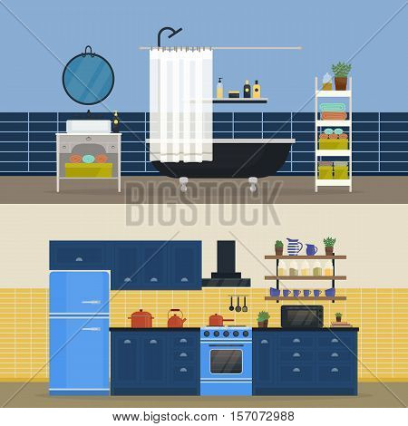 Kitchen interior and bathroom indoor view. Kitchen fridge and oven, stove and furniture, bathroom towel and shower, mirror. Plan for modern kitchen cabinets and bathroom design, apartment architecture