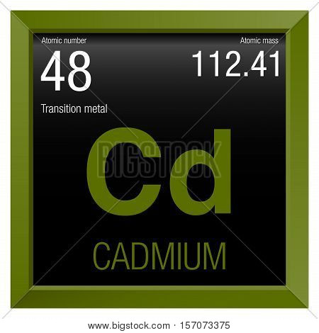 Cadmium symbol. Element number 48 of the Periodic Table of the Elements - Chemistry - Green frame with black background