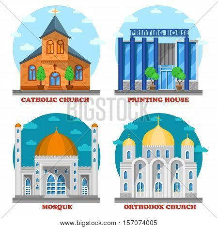 Set of church buildings and printing house facade. Muslim mosque for islam ramadan and church with cross architecture. Can be used for islam mosque icon or orthodox and catholic christian church group