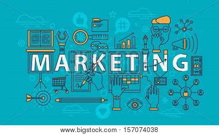 Marketing set of icons or items in thin line. Megaphone and loudspeaker, face in glasses and hand at laptop, marketing search tool as magnifying glass icon. For web or internet marketing data icons