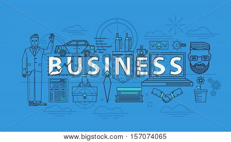 Business items as thin line icons for finance team. Calculator and car, businessman in suit and briefcase in hand, handshake icon and coffee. For business banner and manager or businessman icon