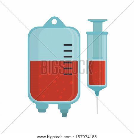 bag blood syringe laboratory vector illustration eps 10