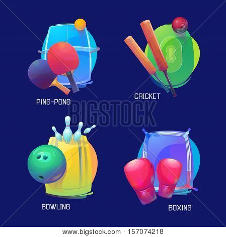 Set of sport banners for cricket and table tennis or ping pong, bowling and sport boxing. Cricket pitch, sport field with bat and boxing gloves, ping pong paddle with ball and bowling ball. Sport logo