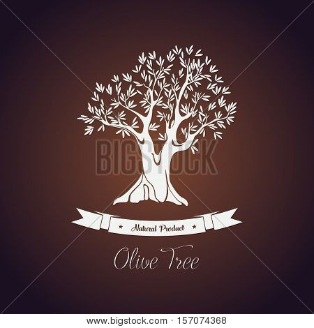 Banner or logo for olive oil tree with branch, leaf. Plant for olive oil and vegetable fruit food, ancient greek mediterranean tree. For shop logo or market badge, olive grove sign, oil bottle label