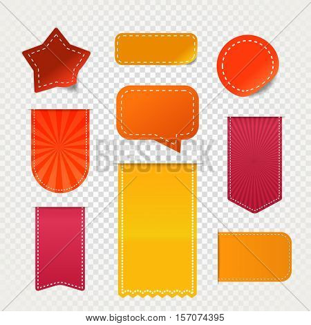Different shopping promo banners isolated on transparent background