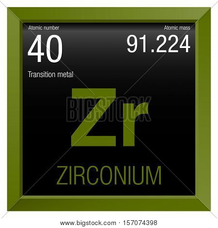 Zirconium symbol. Element number 40 of the Periodic Table of the Elements - Chemistry - Green frame with black background