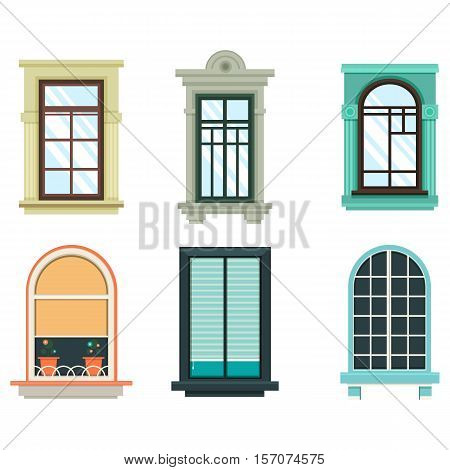 Wood windows frames isolated set exterior view. House or home window with shutter and flower pot, blind window. Perfectly for architecture outdoor design, detailed wooden isolated frame on wall
