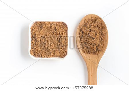 Coconut Sugar. Low glycemic index over a wooden table