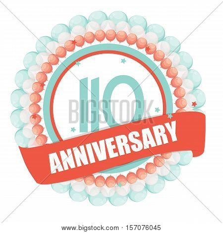 Cute Template 110 Years Anniversary with Balloons and Ribbon Vector Illustration EPS10