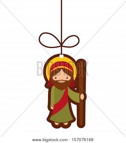 saint joseph manger character vector illustration design