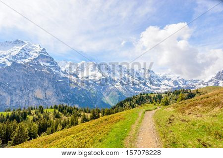 Crossing the Alps. Hiking trail in the Alps.