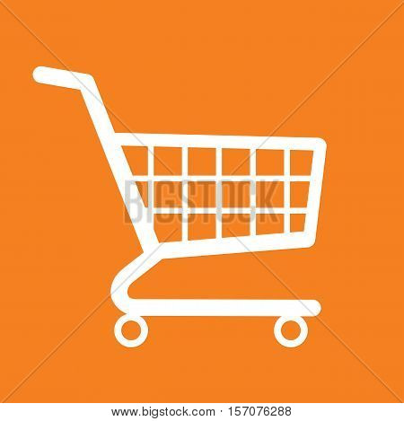 Shopping cart orange background icon vector illustration stock