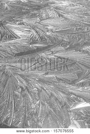 Decorative Frost on Cold Morning on Flat Surface